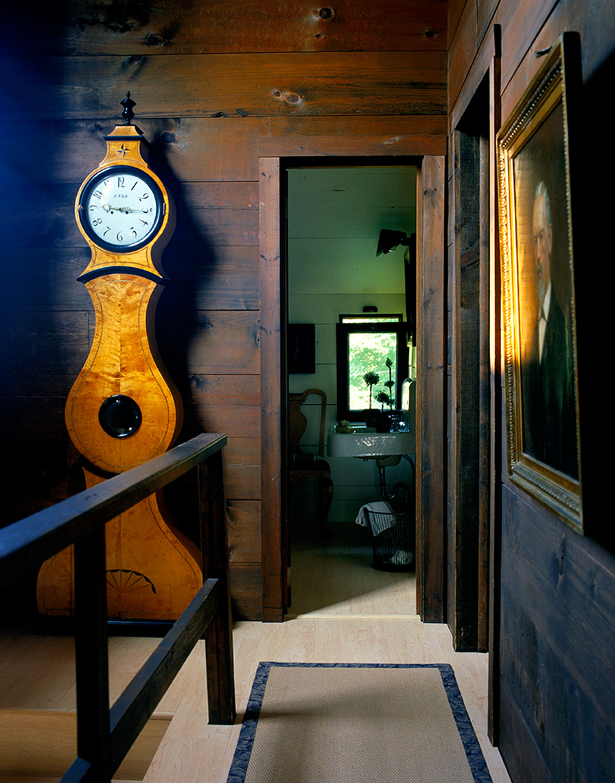grandfather clock in stairway and hall