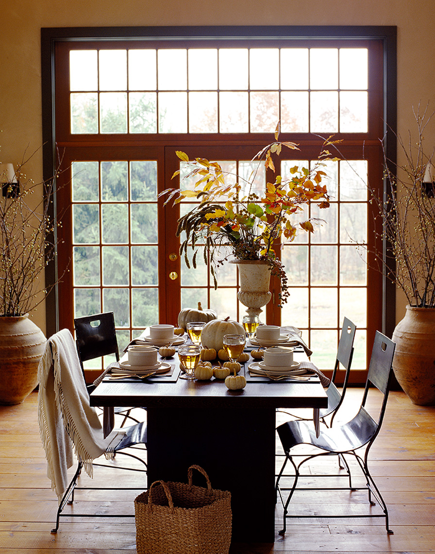 dining room decorated for fall dinner