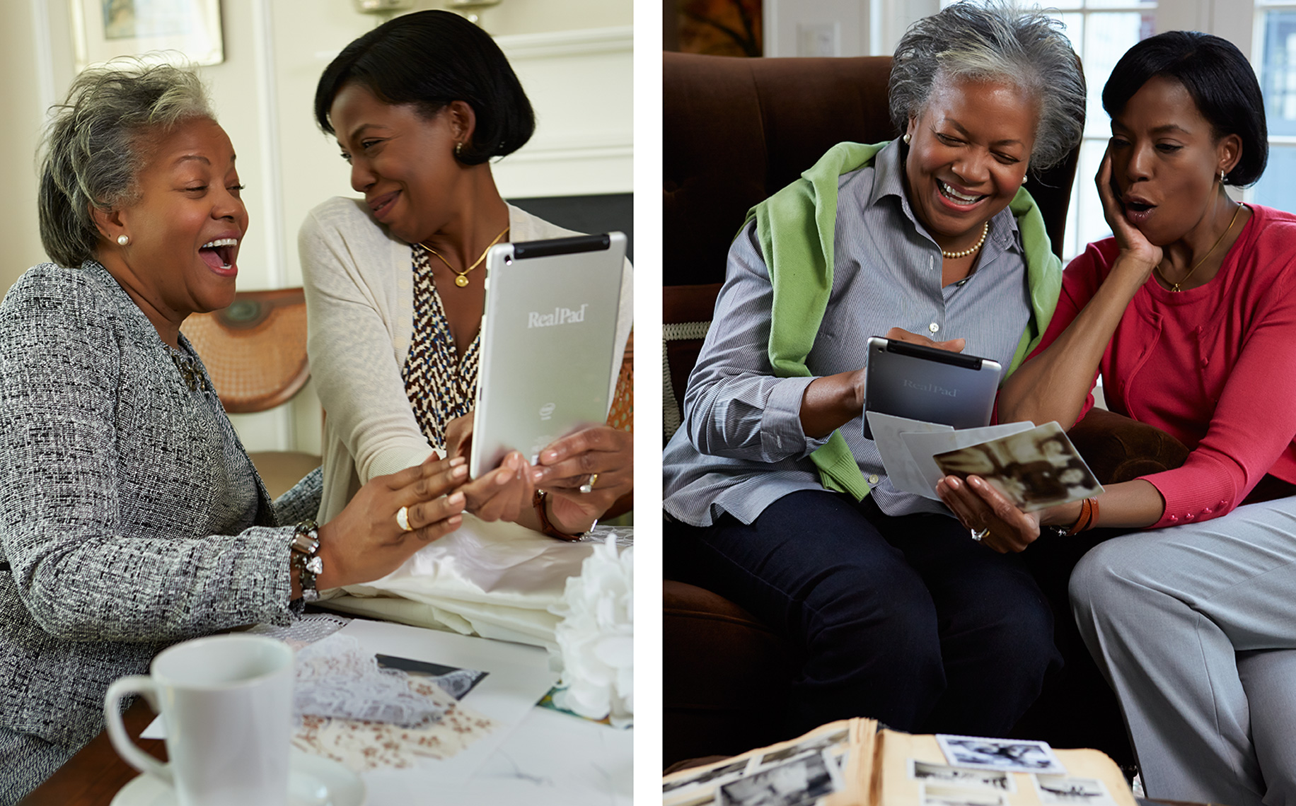black ladies with tablet