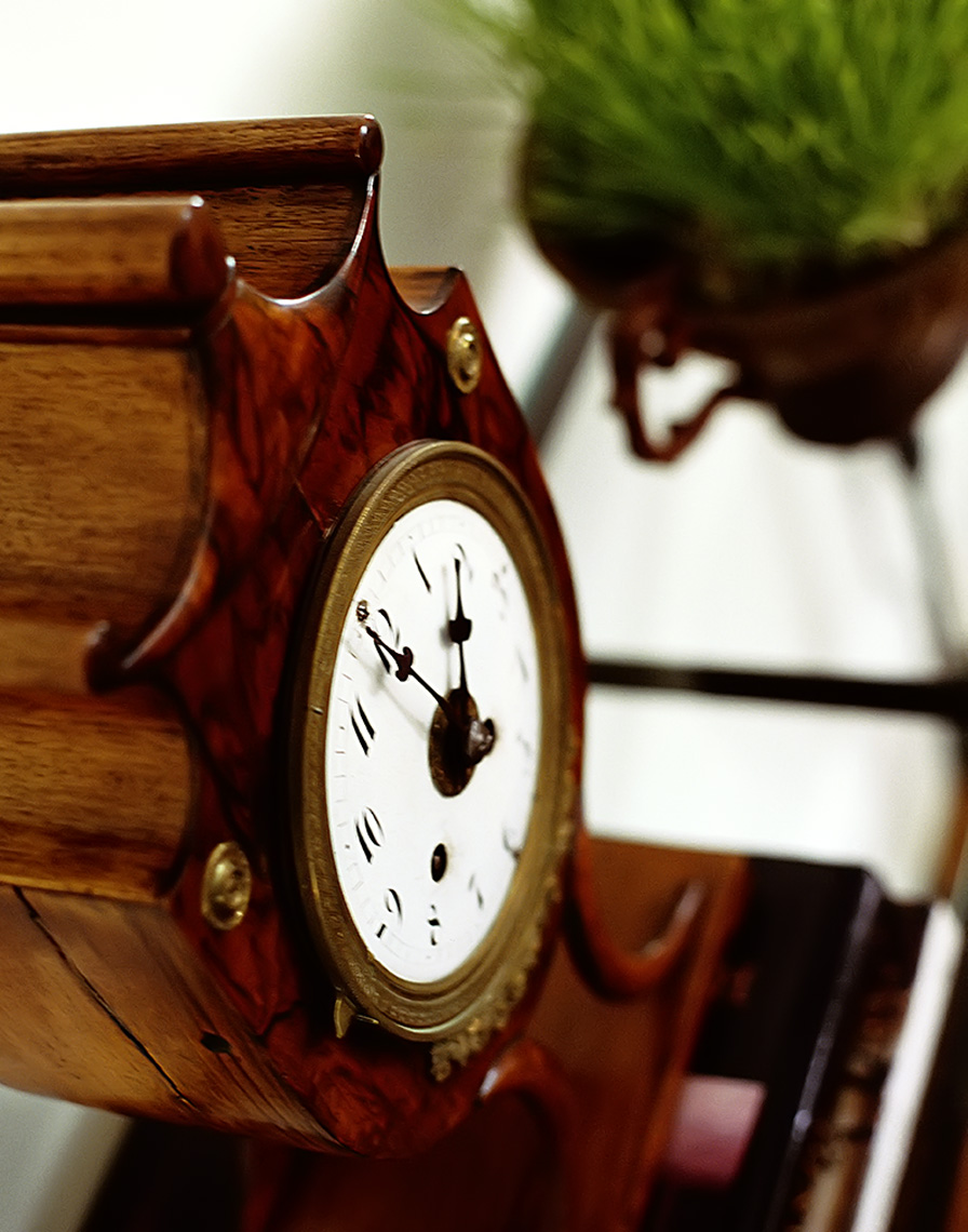 clock_with_grass_ on side table