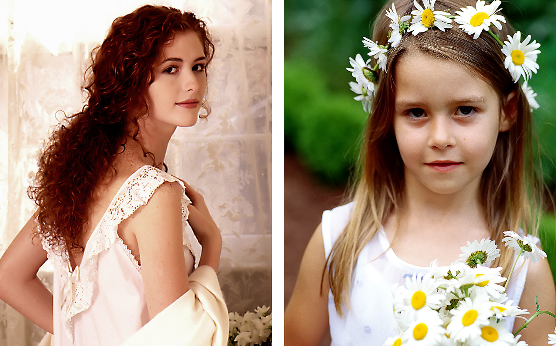 pretty redhead girl and young girl with daisy
