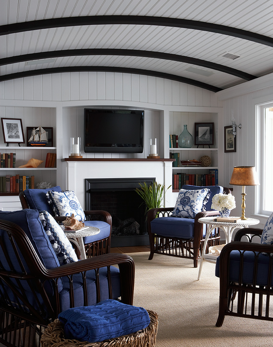 white family room with blue furniture