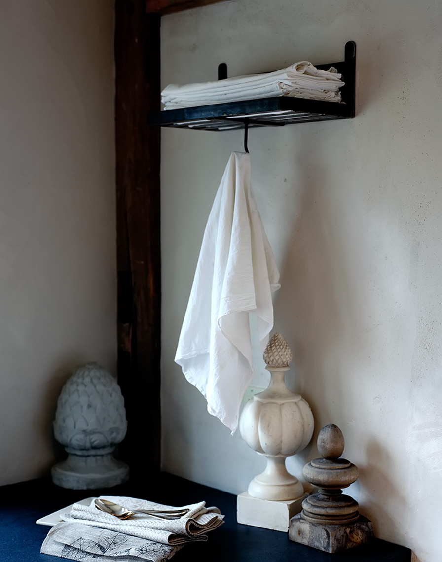 white cloth hanging in country kitchen