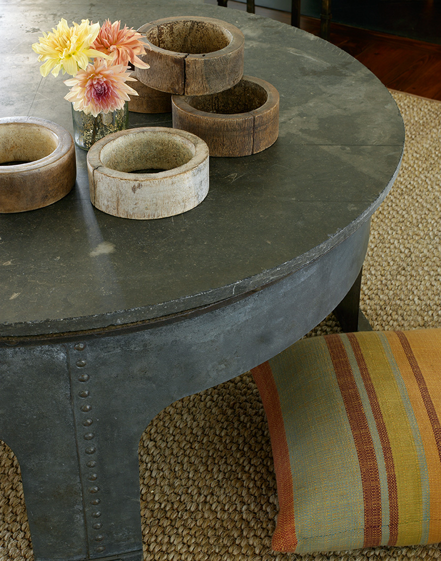 grey wooden coffee table table with wooden rings