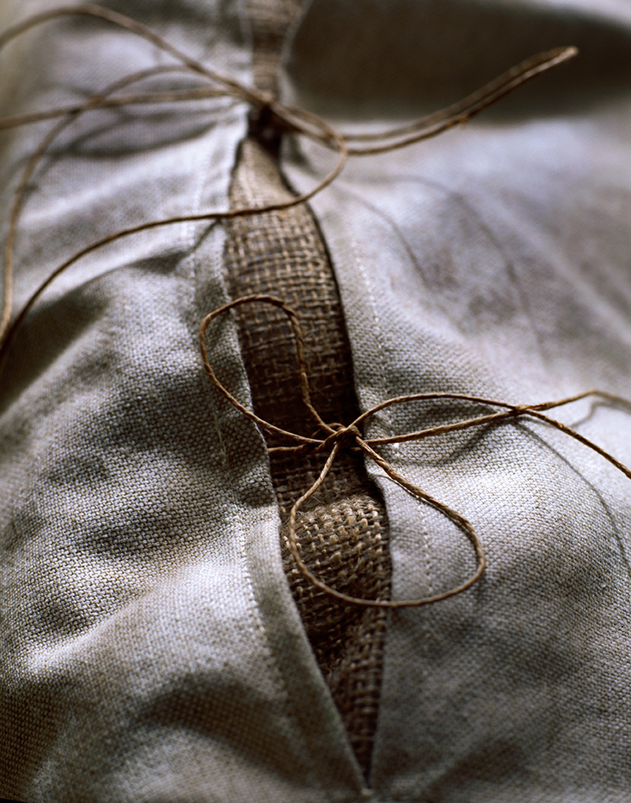 grey linen pillowcase detail