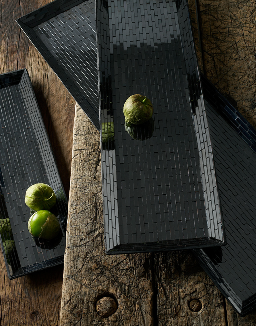 black tile tray green vegetable